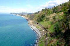 Estrada de ferro do litoral na área Geórgia de Batumi foto de stock