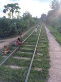 Estrada de ferro do trem ao hispaw (Burma) Imagens de Stock Royalty Free