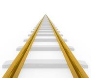Estrada de ferro dourada reta de desaparecimento Fotos de Stock Royalty Free