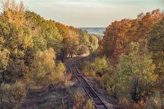Estrada de ferro e árvores douradas do outono foto de stock
