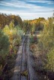 Estrada de ferro e árvores douradas do outono fotografia de stock