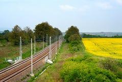 Estrada de ferro e campos Imagem de Stock Royalty Free
