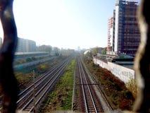 Estrada de ferro em Milão imagem de stock