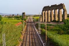 Estrada de ferro em Roma antiga Fotografia de Stock
