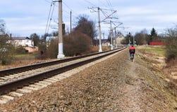 Estrada de ferro, estrada de ferro, transporte, estação, trilha, monte Imagens de Stock