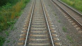 Estrada de ferro movente da floresta do trem video estoque