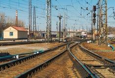 Estrada de ferro na estação de trem do passageiro de Kharkov, Ucrânia Imagens de Stock