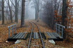 Estrada de ferro na névoa Fotos de Stock