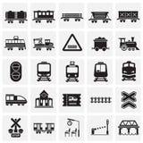 A estrada de ferro relacionou os ícones ajustados no fundo dos quadrados para o gráfico e o design web Sinal simples do vetor Sím ilustração royalty free