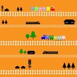 Estrada de ferro sem emenda do trem do teste padrão para miúdos Imagem de Stock Royalty Free