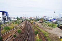 Estrada de ferro sob a construção Fotografia de Stock