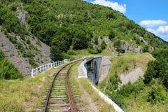 Estrada de ferro, viaduto e túnel da montanha Fotografia de Stock