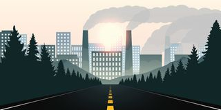 Estrada de floresta para a cidade e poluição pela indústria ilustração stock