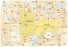 Estrada de Minneapolis Saint Paul e mapa administrativo ilustração stock