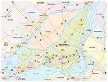 Estrada de Montreal e mapa administrativo ilustração stock