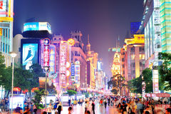 Estrada de Nanjing em Shanghai Fotos de Stock