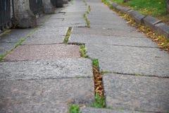Estrada de pedra Cobbled mostrada em um ângulo pequeno em Petersburgo Imagem de Stock Royalty Free