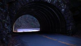 Estrada de pedra do túnel nas madeiras durante o tempo do por do sol imagens de stock