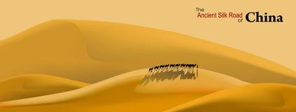 A estrada de seda antiga de China ilustração do vetor