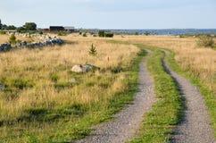 Estrada de terra costal com grama Imagem de Stock Royalty Free