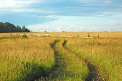 Estrada de terra no campo Fotos de Stock Royalty Free