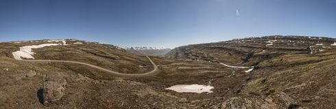 Estrada de terra - rota 939, região oriental, Islândia panorâmico Fotos de Stock