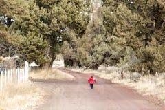 Estrada de terra rural com a crian?a na dist?ncia Imagens de Stock