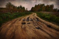 Estrada de terra terrível fotografia de stock