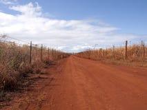 Estrada de terra vermelha Fotos de Stock