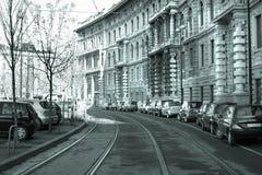 Estrada de trilho em Milão Fotografia de Stock
