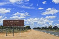 Estrada de WA Nullarbor roadsign de 90 milhas Fotografia de Stock Royalty Free