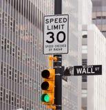 A estrada de Wall Street assina dentro a troca conservada em estoque de NY Fotografia de Stock Royalty Free