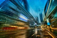 A estrada distorcido da cena da noite da cidade Foto de Stock Royalty Free