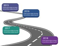 estrada do asfalt com linha de tempo marco miliário da cor da empresa e te da amostra ilustração do vetor