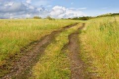 Estrada do campo perto do lago após uma chuva Fotografia de Stock