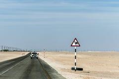 Estrada do deserto do sinal de aviso do camelo no salalah dhofar Omã Médio Oriente Fotos de Stock Royalty Free