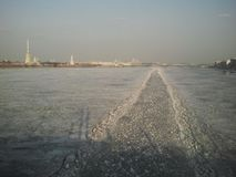 Estrada do gelo no rio foto de stock royalty free