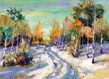 Estrada do inverno à madeira Imagem de Stock Royalty Free