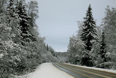 Estrada do inverno imagens de stock