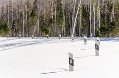 Estrada do inverno na floresta siberian fotografia de stock