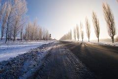 Estrada do inverno no sol da noite imagem de stock