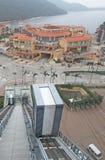 Estrada do teleférico da baía da descoberta, ilha de Lantau, Hong Kong foto de stock