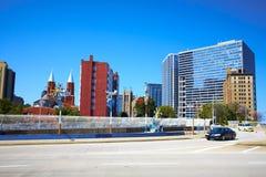 Estrada e edifícios. Atlanta, GA. imagem de stock