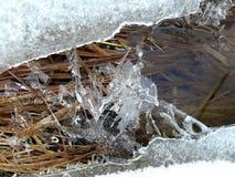 estrada e lago na neve Imagens de Stock Royalty Free