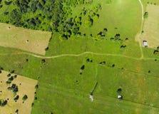 Estrada e prado verde Imagem de Stock Royalty Free