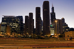 Estrada em Chicago da baixa Fotos de Stock Royalty Free