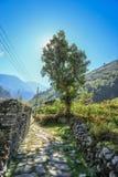 Estrada em Ghasa, passeio na montanha de Jomsom Sadak Imagem de Stock Royalty Free