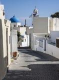 Estrada em Megalochori, Santorini, Greee Imagem de Stock Royalty Free