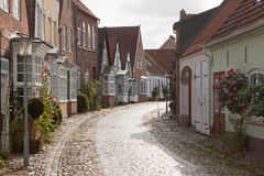 Estrada em Tonder, Dinamarca do Cobblestone Imagem de Stock Royalty Free