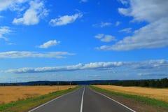 Estrada em um campo Imagem de Stock Royalty Free